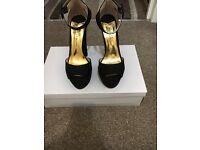 Ladies black peep toe heels