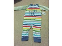 Boys striped romper/baby grow, age 3-6 months