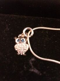 Silver hall marked silver necklace with owl charm