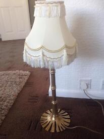 Tall solid brass table lamp and shade