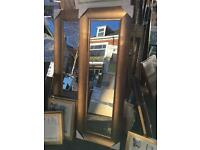 full length wide wooden mirror with champagne finish