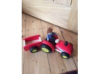 Pintoy wooden tractor, trailer and farmer