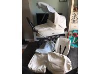 White and blue babystyle prestige Pram pushchair
