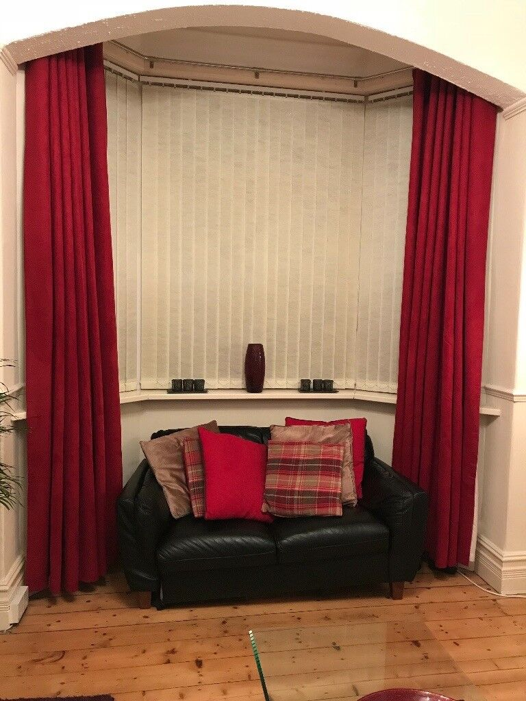Extra long drop - red suede curtains | in Heaton Moor, Manchester ...