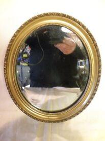 """Vintage Oval Bevel Edge Mirror, 11.5"""" x 9.5"""", - Guilt Wood / Plaster Frame"""