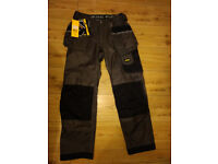 """Snickers DuraTwill Holsted Work Trousers Black / Grey 33"""" 32"""" brand new w/tag"""