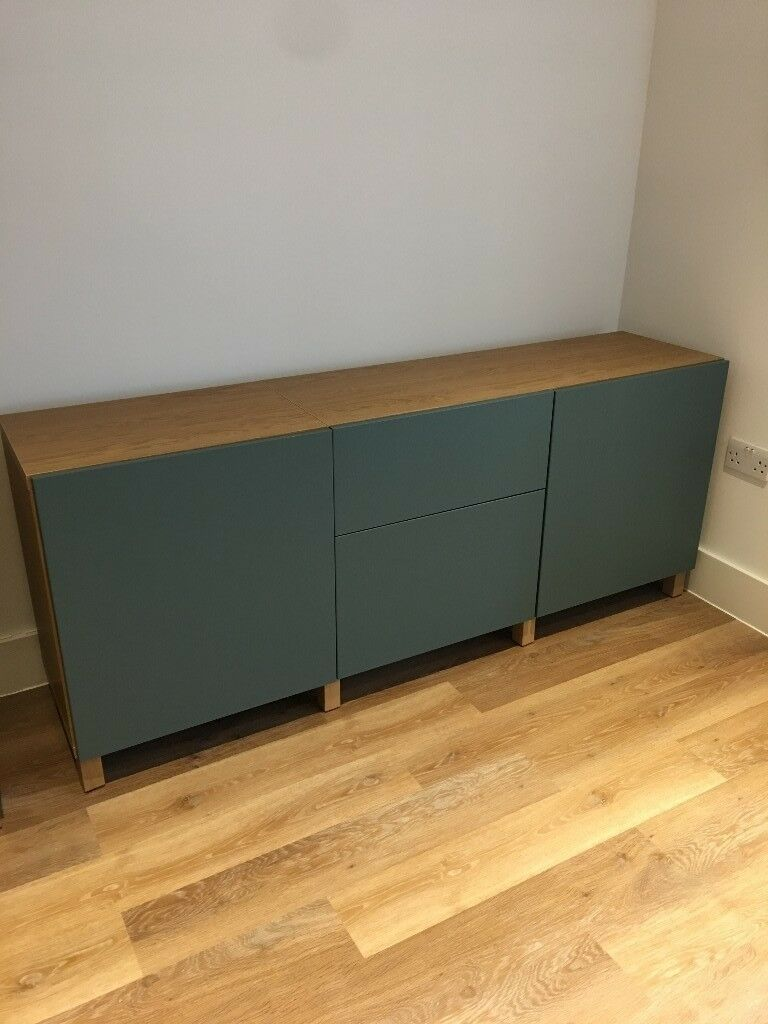 ikea besta storage combination sideboard oak and valviken grey turquoise in london gumtree. Black Bedroom Furniture Sets. Home Design Ideas