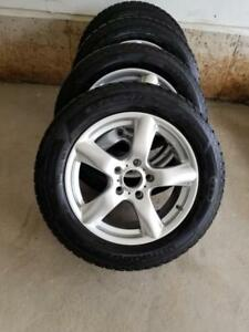 AUDI Q7 18 INCH GOOD YEAR ULTRA GRIP HIGH PERFORMANCE 255 / 55 / 18 WINTER TIRES ON AFTERMARKET ALLOY WHEELS