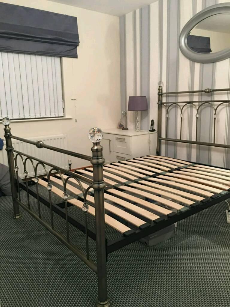 King Size Antique Brass 'Krystal' Bed Frame