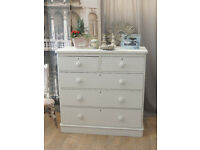 Shabby chic antique Victorian chest of five drawers/tallboy by Eclectivo