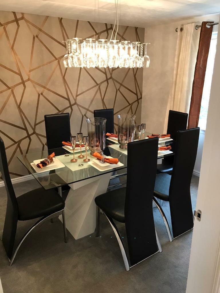 Modern Glass Dining Table With 6 Chairs Almost New In Edinburgh