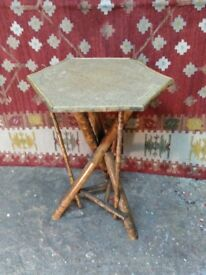 antique aesthetic movement bamboo table unusual design all solid