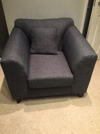 Dark Grey Farbic Armchair. Perfect condition £60 ono