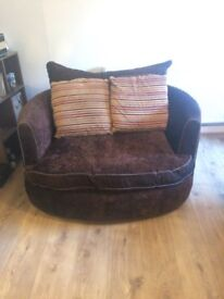 2 swivel sofa / cuddle chairs with cushions