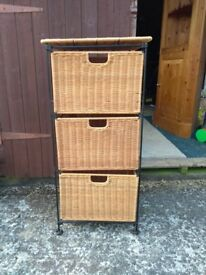 Wicker chest drawers baskets unit