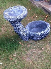 Gorgeous vey usual bird bath with flower planter