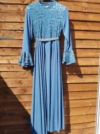 Ladies half lace abaya dress