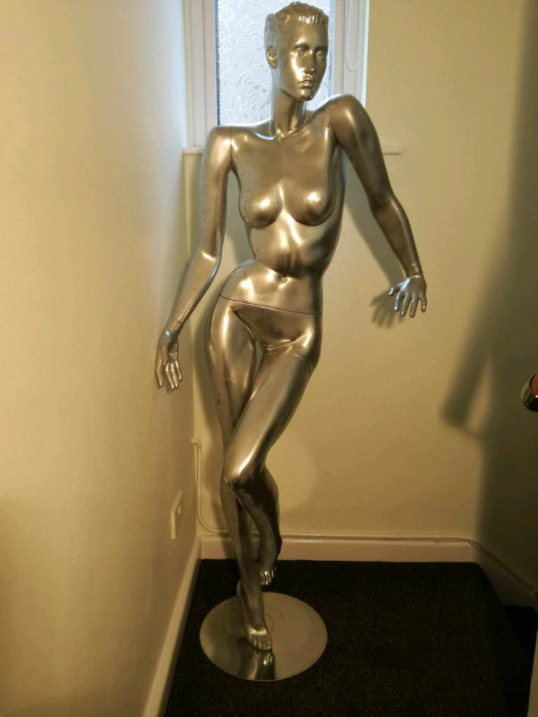 Silver full size silver female mannequin