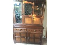 4ft Mahogany Welsh dresser, (glass panes, good condition)