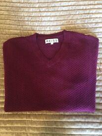 Men's REISS V-neck Jumper. Burgundy colour. Size - Large.