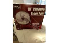 Brand new 18'' Chrome Floor Fan