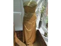 gold satin prom/bridemaid dress size 8/10