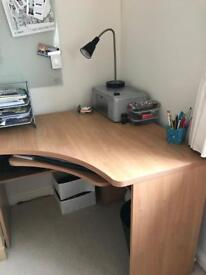 Computer desk and filing cabinet