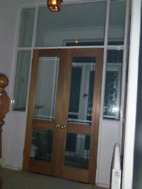 Double doors with internal entrance frame + glass and panel surround - Excellent condition