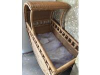 Large vintage wicker crib
