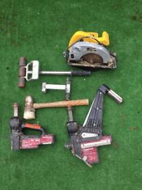 Used flooring tools and skill saw