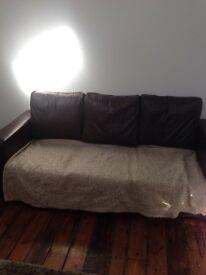 FREE brown fake leather 3 seater sofa