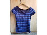 T shirt next 8 small s blue black stripes smart casual