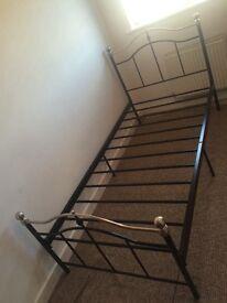 Solid metal frame bed