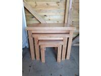 Light Oak Nest of 3 Tables