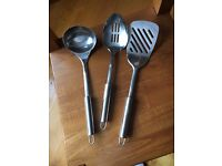 SET OF THREE LARGE KITCHEN UTENSILS - LADEL, SLOTTED SPOON AND SPATULA