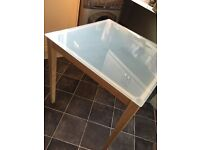 Habitat kitchen table - rubber wood frame and frosted glass top, very tidy