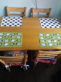 WOODEN TABLE+4 CHAIRS