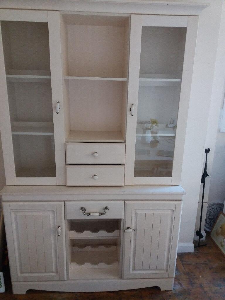 Welsh Dresser Shabby Chic Cream White Wood Gl Doors