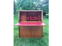 60's writing bureau - teak and red leatherette