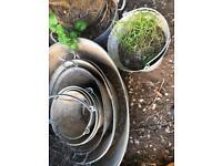 Vintage Galvanised Steel tubs and buckets