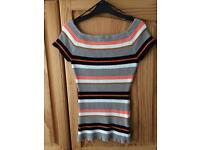 Stripey off the shoulder h&m size small sweater