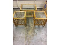 Wooden coffee table and two side tables