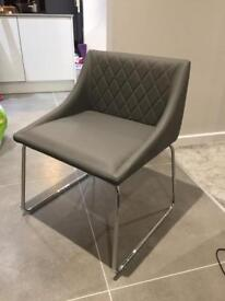 Bargain! 6 brand new contemporary grey leather dining chairs for sale