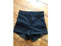 H&M Black denim high-waisted shorts. UK 10