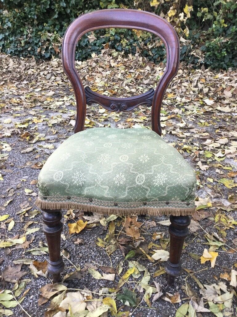 Antique Balloon back Mahogany Chair - Upholstered Seat - Beautiful