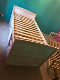 Children's single cabin bed with 3 drawers and four shelves.