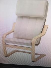 IKEA POANG ARM CHAIR WITH CREAM COVER