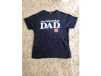 Mens size Small black short sleeve National Bank of Dad top