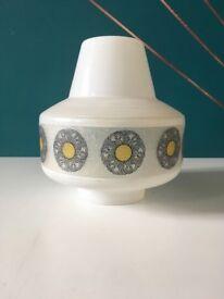 Large Vintage Mid Century White Glass Lampshade