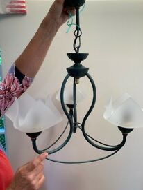 Pair 'Very de Gris' three-bulb light fittings